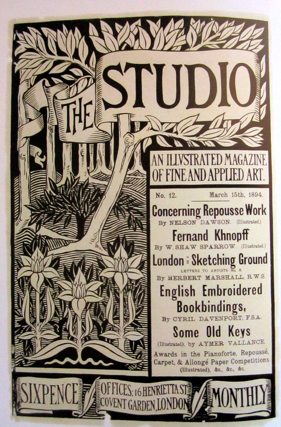 Poster for The Studio, 1893, Engraving. V&A Museum, London