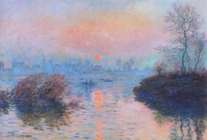 Claude Monet: Sunset on the Seine at Lavacourt - Winter Effect